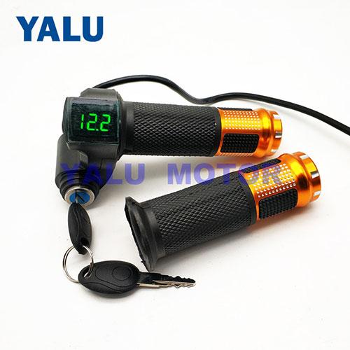 Digital Throttle with Voltage Display lock Universal Motorcycle Kit