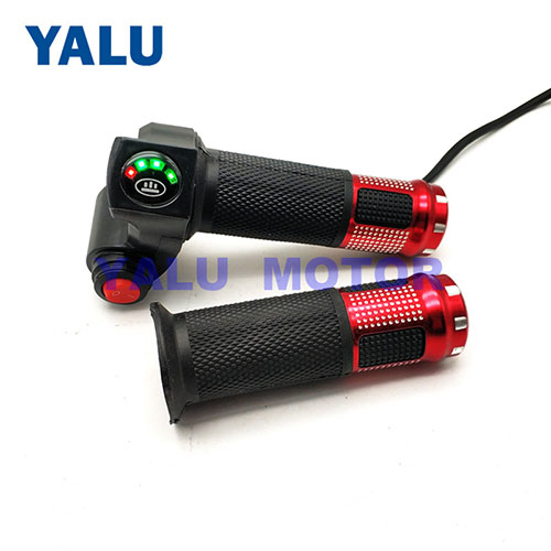 Motorcycle speed handlebar throttle with battery power display
